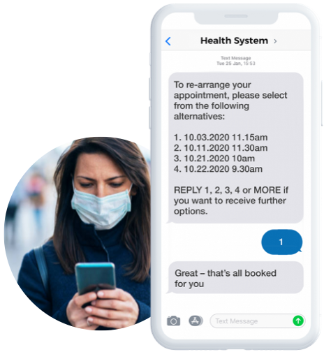 An image showing a patient self-scheduling on their mobile
